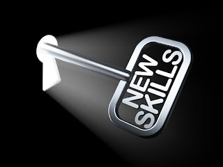 """A key labeled """"New Skills"""" is inserted into a keyhole to illustrate that new managers need new skills through new manager training"""