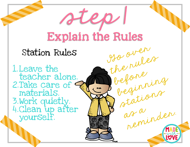 Rules for teaching students to use stations in the classroom
