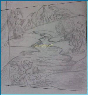 rio pintado a lápiz