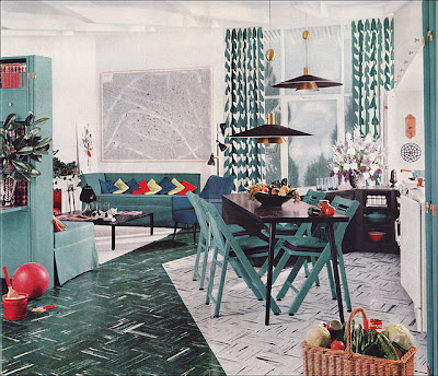 mid-century living dining room with blue accents