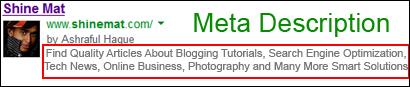 Meta description on SERP