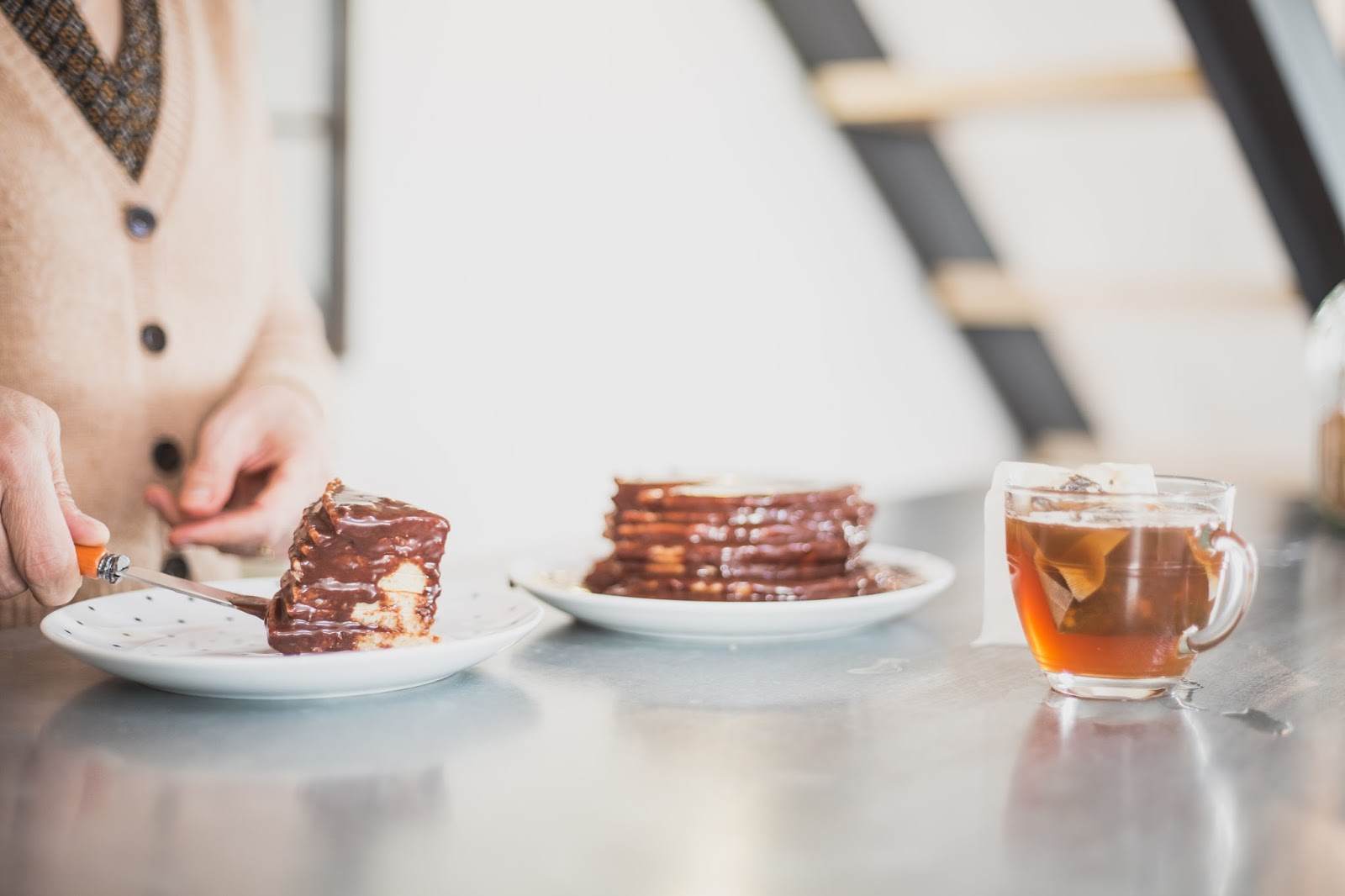 Pancakes et sauce chocolat