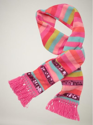 Striped fleece sequin-trim scarf