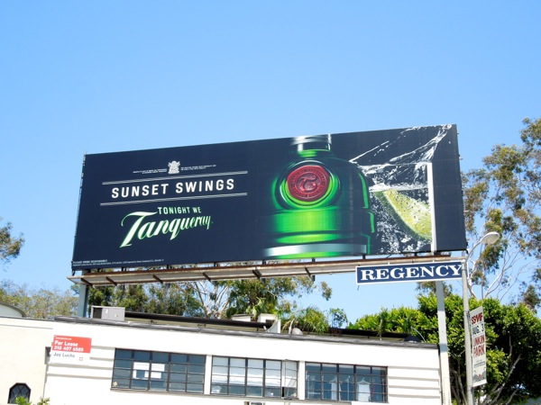Sunset Swings Tonight we Tanqueray gin billboard