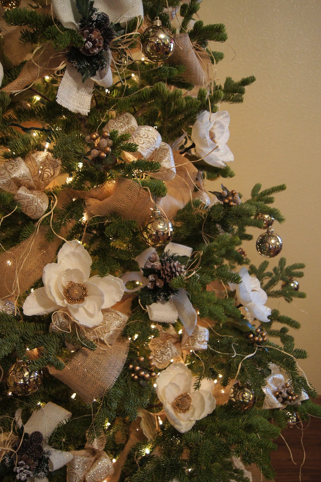 In full bloom floral design elegant french burlap for How to decorate a country christmas tree