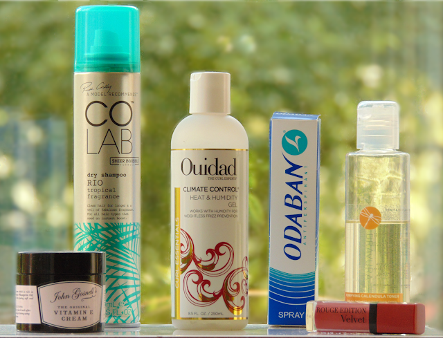 July Favourites 2015 featuring John Gosnells Vitamin E Cream, CoLab Dry Shampoo in the Scent Rio, Ouidad Climate Control Heat & Humidity Gel, Odoban Antiperspirant, Bravura Purifying Calendula Toner, Bourjois Rouge Edition Velvet in the Shade Beau Brun.