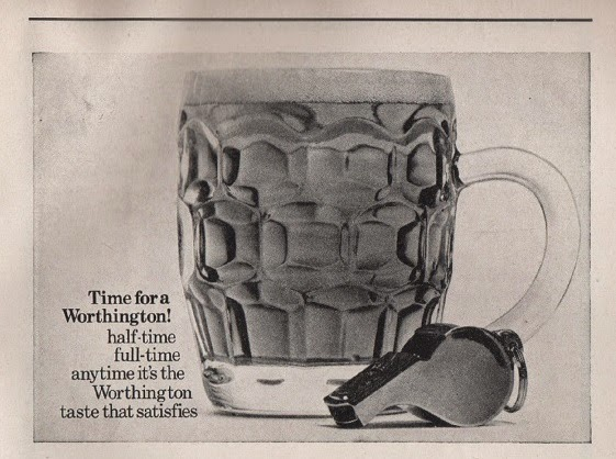 Vintage advertisement for Worthington's beer from Stoke City football programme, c.1969