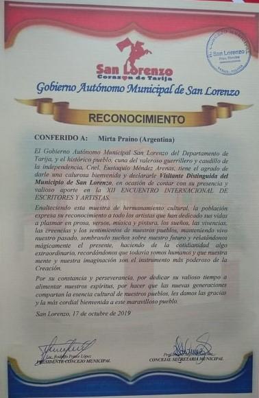 Reconocimiento Visitante Distinguida San Lorenzo Concejo Deliberante - Tarija. Bolivia
