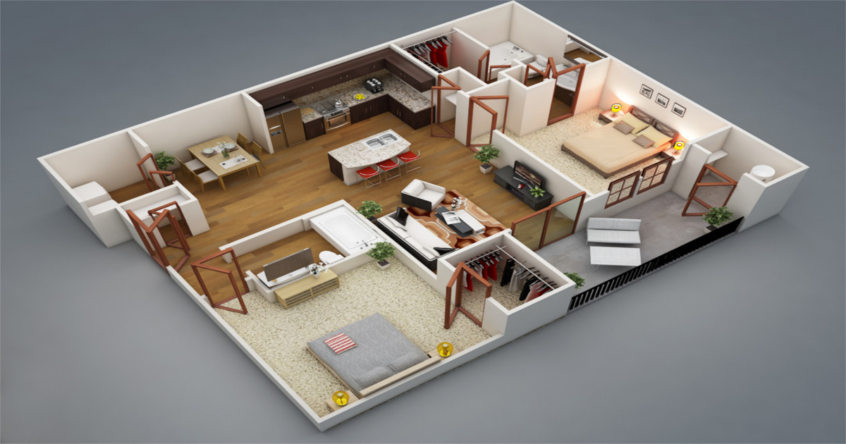 Top 15 Free 3d Floor Plan Designs For 2 Bedroom Houses And