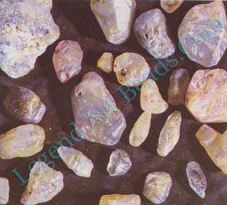 Rough corundum of various colors.