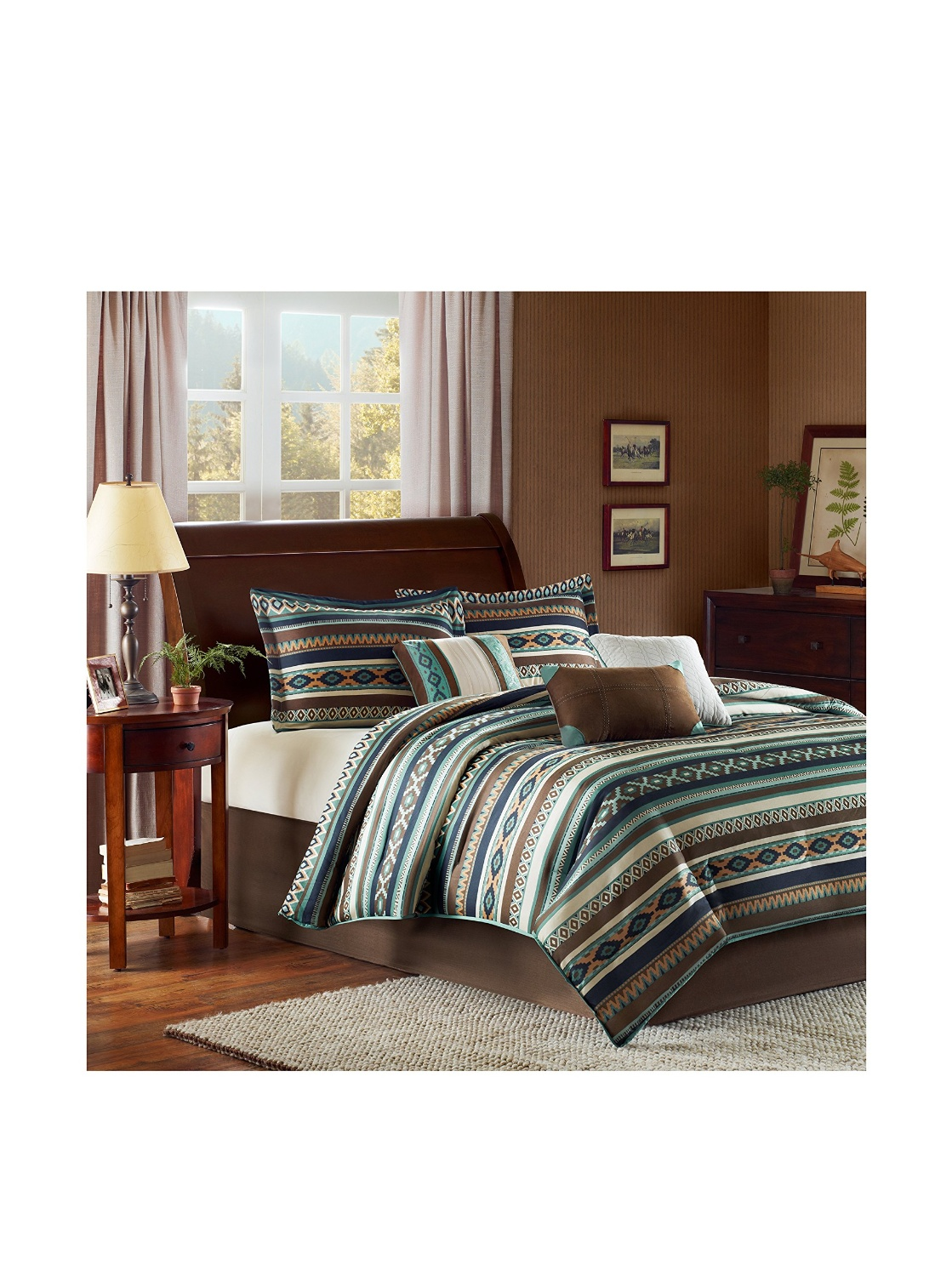 southwest style native american indian comforter set in turquoise - Southwest Bedding