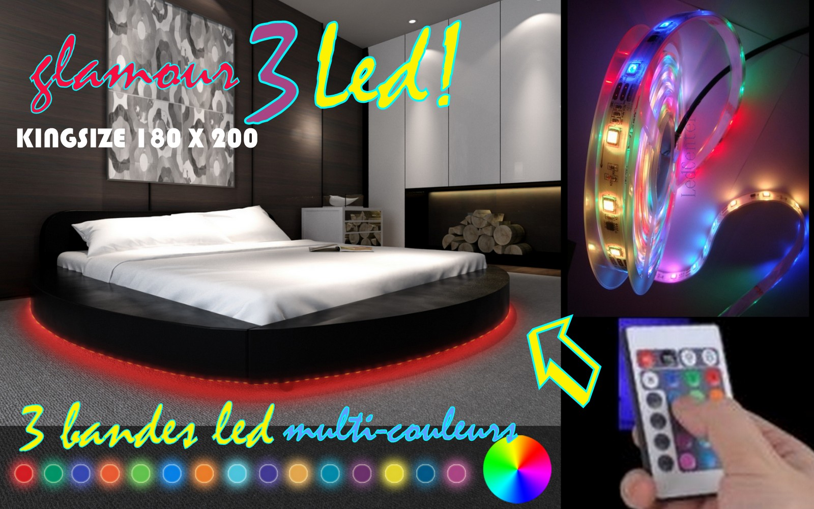 decco interieur cadre de lit glamour 3 rond a led 180 x 200 noir. Black Bedroom Furniture Sets. Home Design Ideas