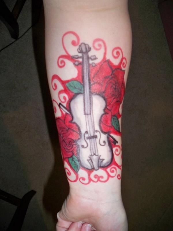 Sharpie Tattoo- White Violin by bueatiful-failure