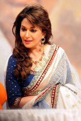 Madhuri dixit in white designer saree