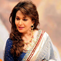Madhuri dixit in white designer saree
