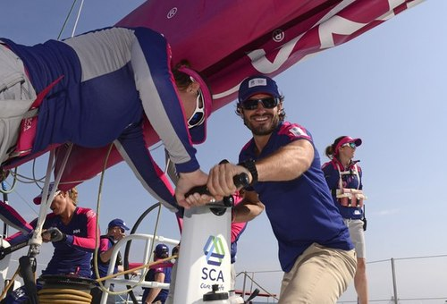 Team SCA are competing under a Swedish flag in the 12th edition of the Volvo Ocean Race with an all-female crew. Prince Carl Philip joined the crew onboard the boat for the In-Port Race in Alicante.