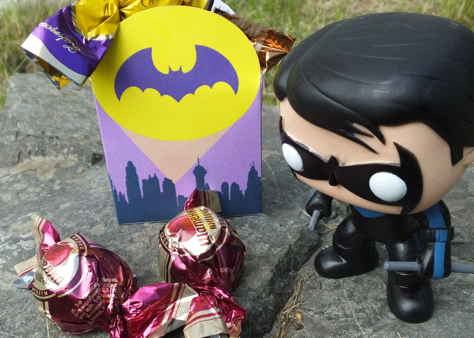 Bat signal box and Funko Pop Nightwing