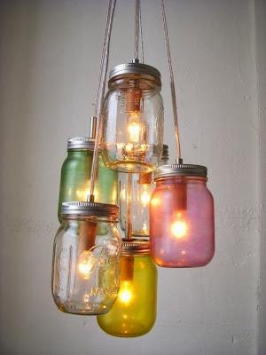 tarros de colores hechos lamparas