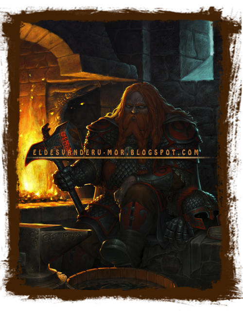 La ilustración de Din, muestra al enano sentado de espaldas a la fragua donde trabaja el metal y la magia. Din está equipado con su indumentaria, y armadura especial. Ilustración hecha por ªRU-MOR para el juego de rol Usûlun