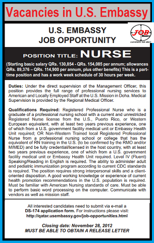 Nurse job opportunity in u s embassy jobhunferfb for Consulate jobs