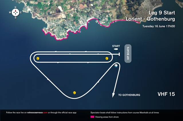 Volvo Ocean Race Leg 9 Start map graphic