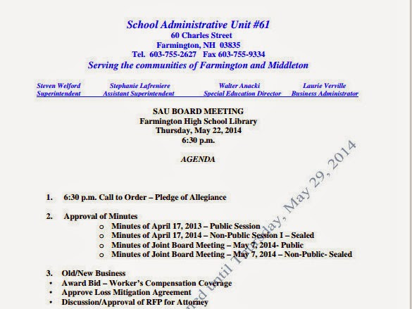 SAU 61 Meeting Rescheduled-New Date And Time-Thursday, May 29th, At 6:30 PM