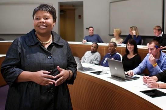 Weatherhead School of Management's Senior Admissions Director Deb Bibb with students