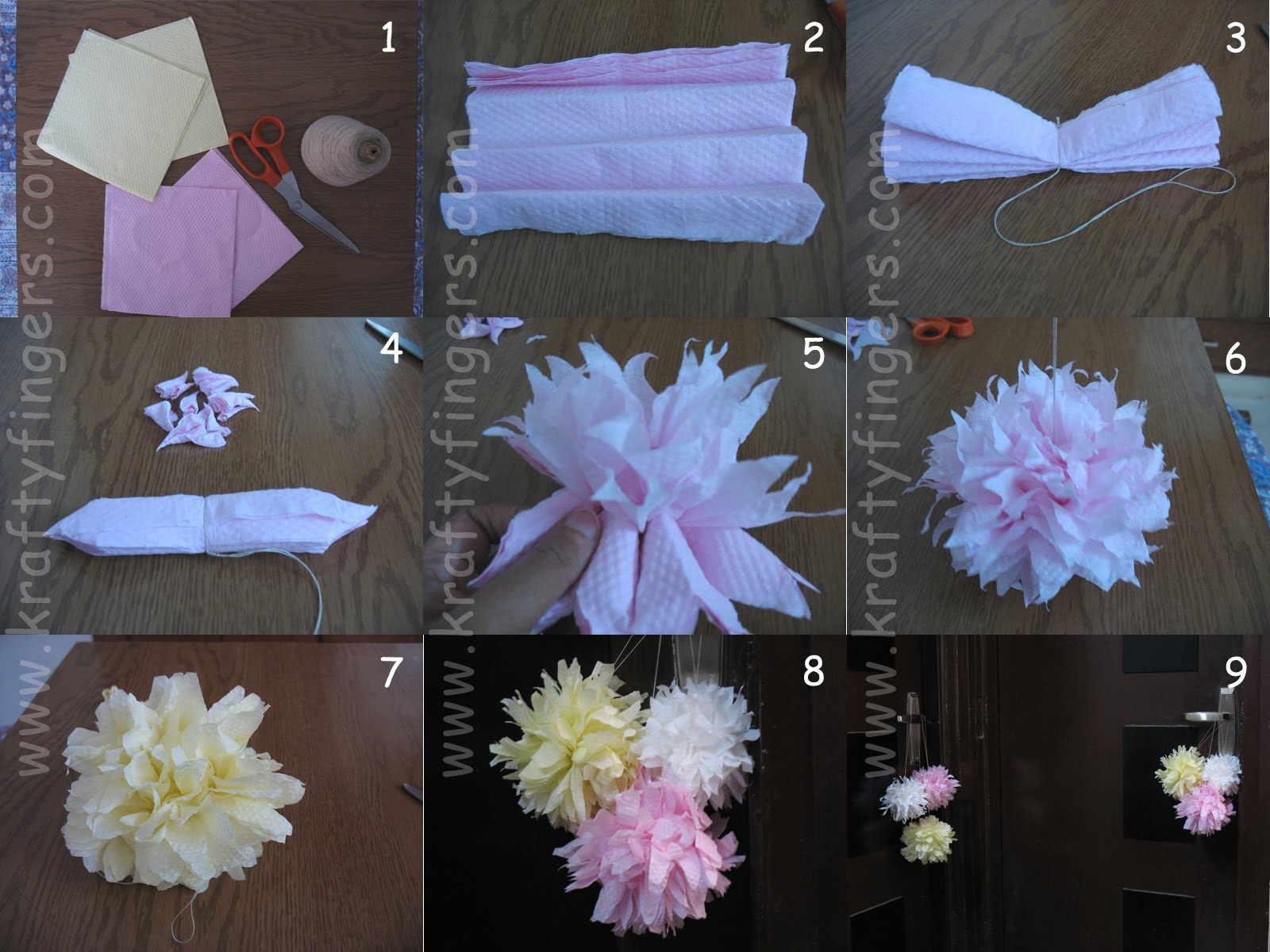 Paper napkin dahlias flower making kraftyfingers how to make paper napkin flowers mightylinksfo