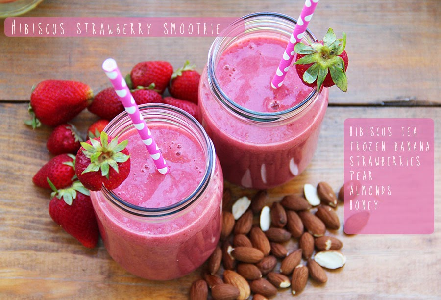 Almond Superfood Hibiscus Strawberry Smoothie Recipe
