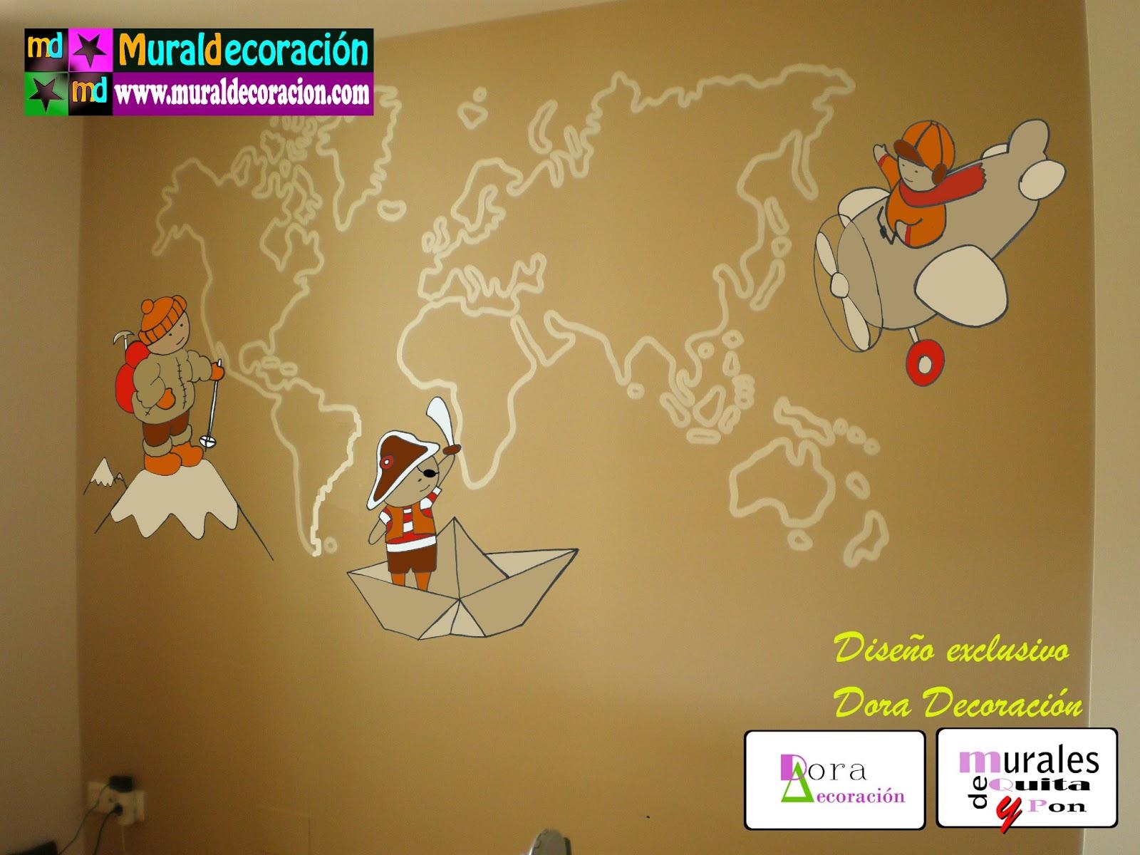 Murales infantiles mural mapa mundi para dormitorio - Mural pared infantil ...