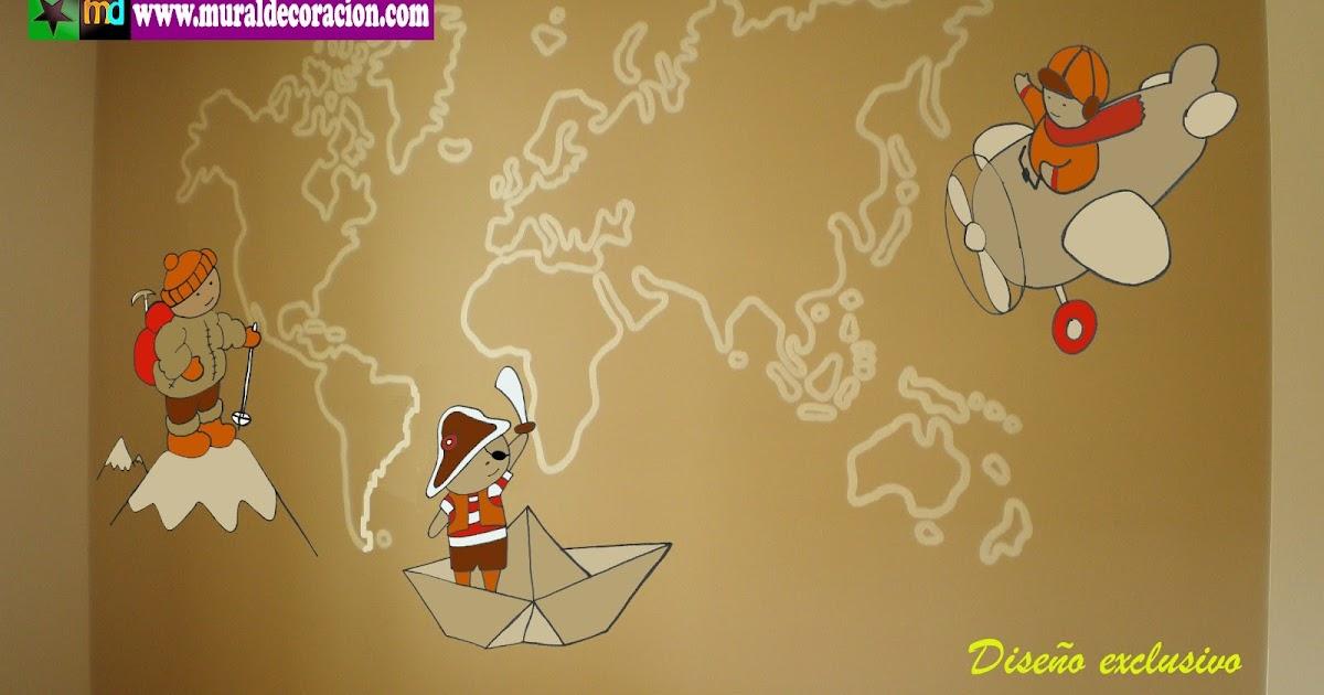 Murales infantiles mural mapa mundi para dormitorio - Mapa mundi mural ...