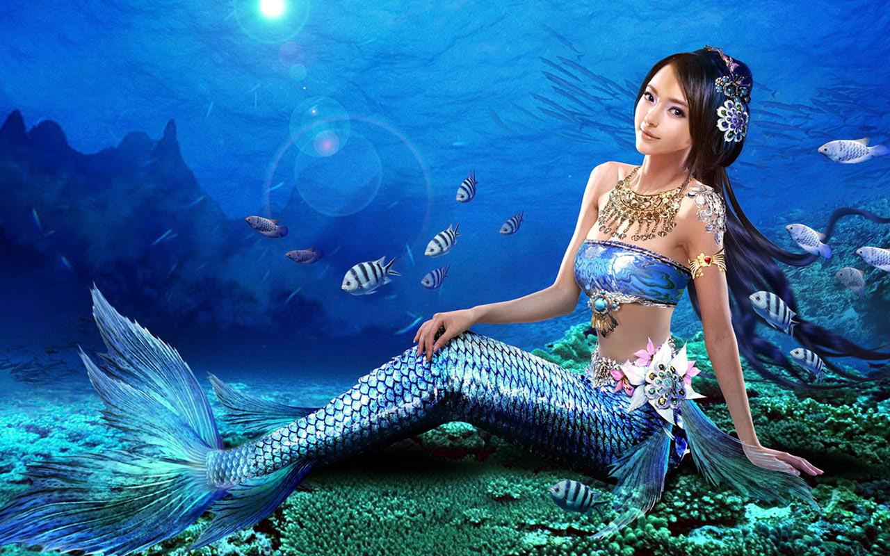 Most Beautiful Free Top 10 Mermaid Girl HD Wallpapers Fantasy Graphics ...