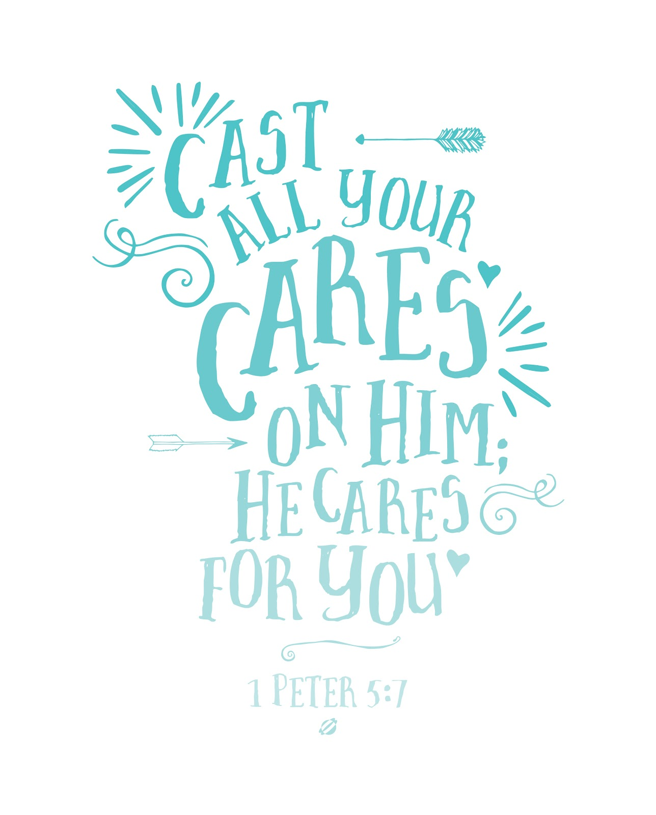 LostBumblebee ©2014 Cast Your Cares 1 Peter 5:7 FREE PRINTABLE- personal use only