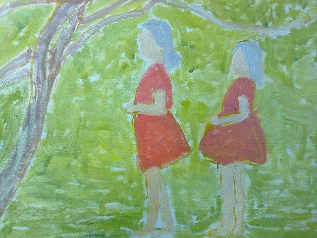 paisaje con niñas oleo