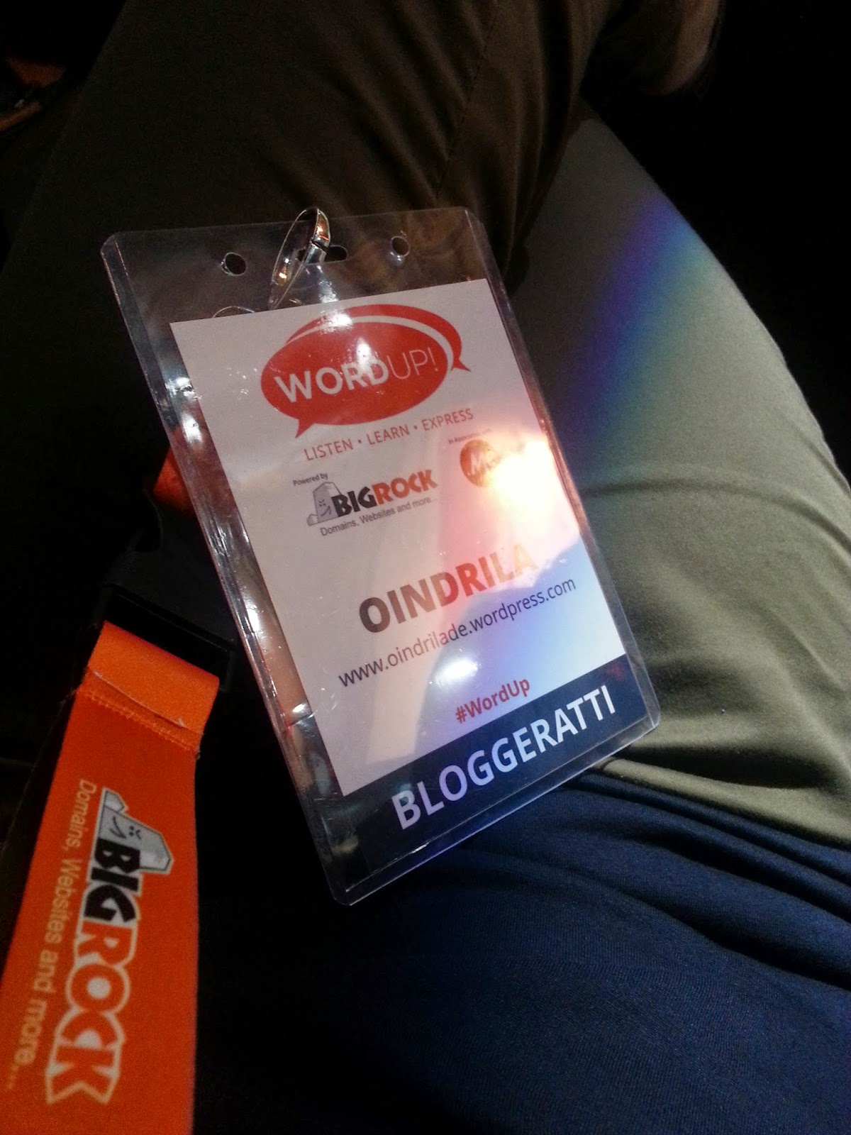My badge at the Indiblogger Wordup Bloggers' Meet