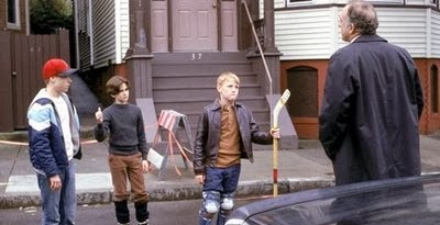The three main characters of MYSTIC RIVER as young boys experience an inciting incident.