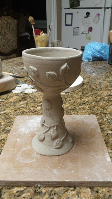 Beautiful handmade ceramic / pottery / stoneware goblet with leaf design, in progress.