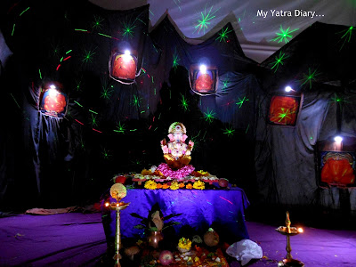 An ashtavinayak thematic pandal during the Ganesh Chaturthi festival