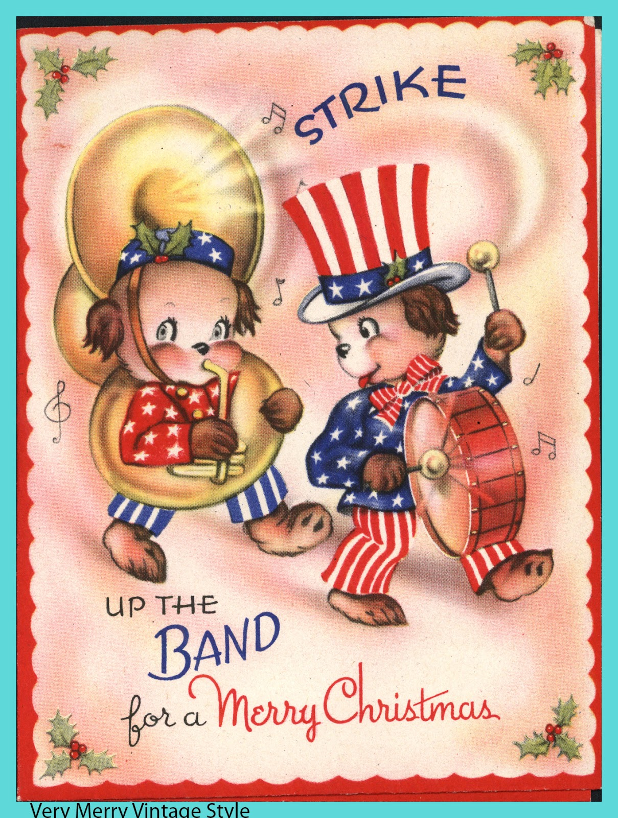 very merry vintage syle vintage christmas card with 4th of july
