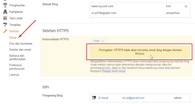 HTTPS belum mendukung untuk custom domain