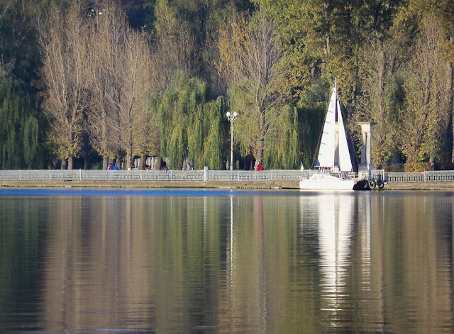 Sailboat on the Ternopil Lake, Western Ukraine