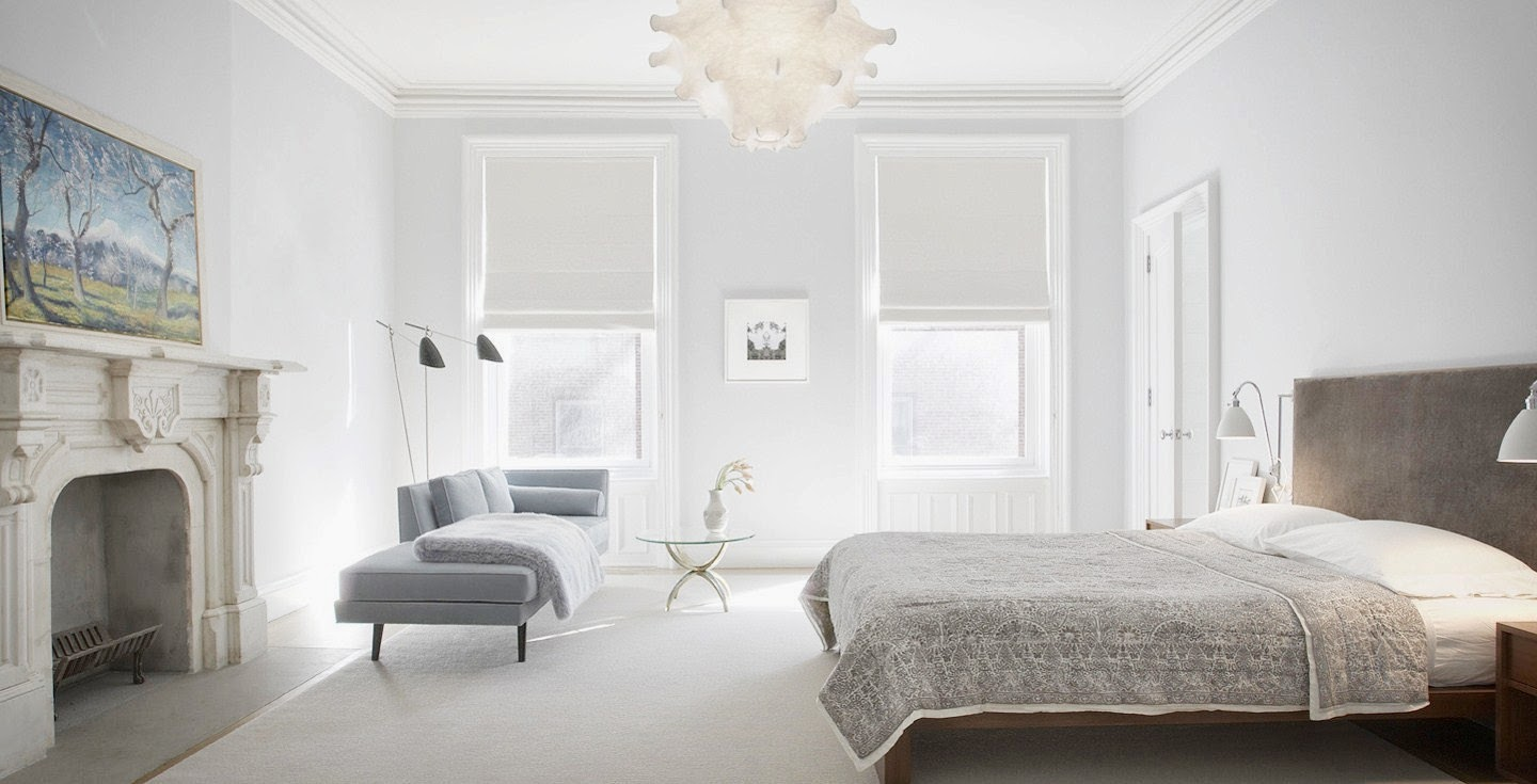 Modern grey bedroom with white molding and trim