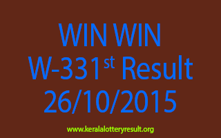 WIN WIN W 331 Lottery Result 26-10-2015