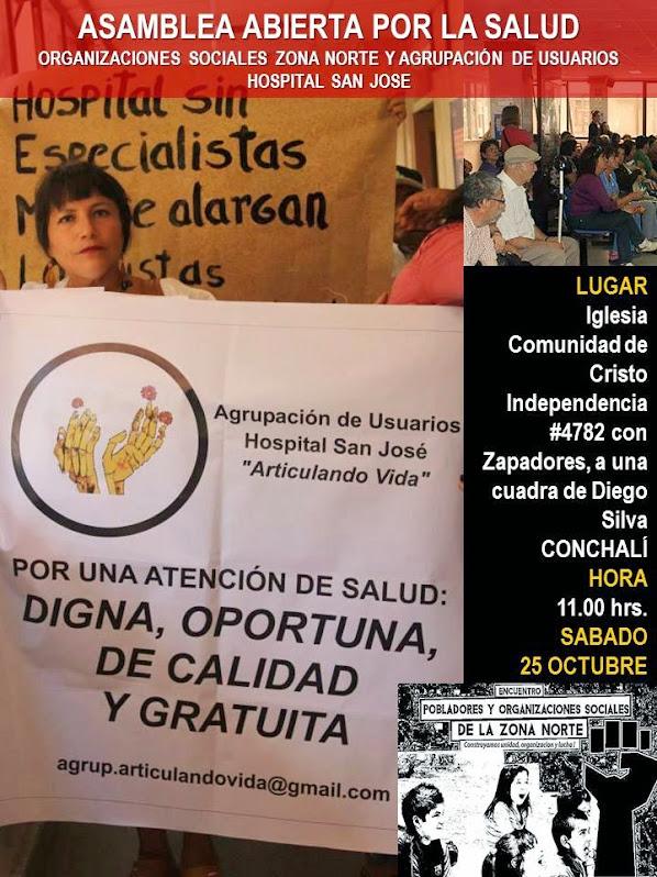 CONCHALI: ASAMBLEA ABIERTA POR LA SALUD, ORGANIZACIONES SOCIALES ZONA NORTE Y AGRUPACIÓN DE USUARIO