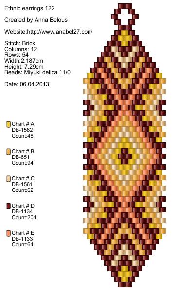 "Схема серег ""Саванна"" - free beaded earrings pattern"