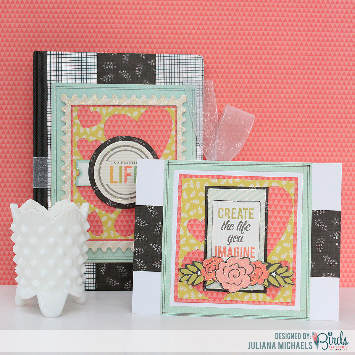 It's A Beautiful Life Notebook and Create The Life Card using paper scraps 3 Birds Studio Graceful Season Collection