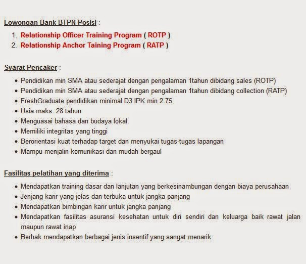 lowongan kerja bank btpn bandung