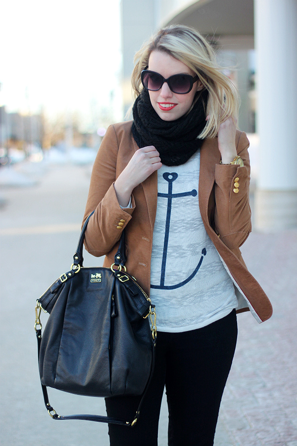 anchor sweater and coach madison lindsey satchel