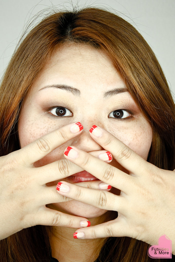 Modern Red French Manicure, manicure, asian eyes, asian monolid, makeup tutorial, makeup reviews, product reviews, cosmetics, make up, makeup, maquillage, tuto, yeux, asiatique, futilitiesandmore.blogspot.com, futilities and more, futilitiesandmore