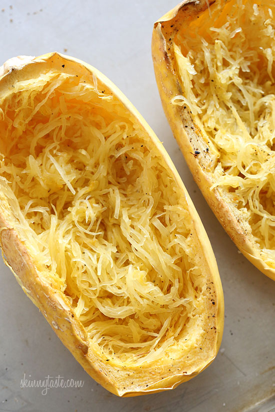 Cheesy baked spaghetti squash boats with grilled chicken for What to make with spaghetti squash